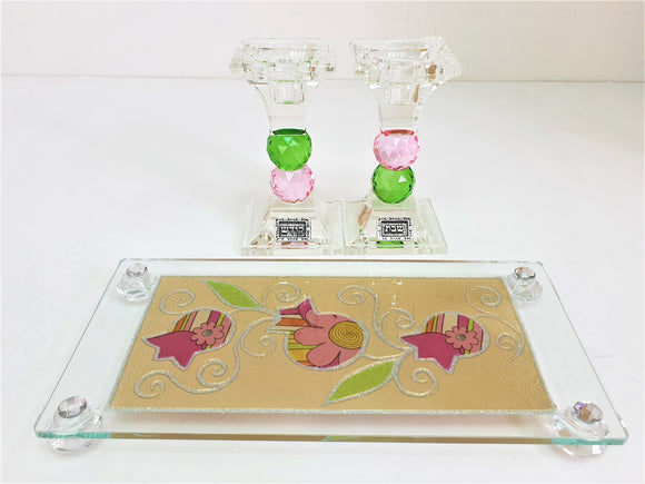 Crystal 16 cm Candlesticks Set with Tray - Pink Pomegranate