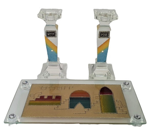 Crystal Candlesticks Set with Tray - Gold Jerusalem