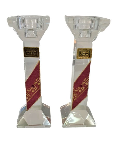 Crystal Candlesticks Set Rectangle - Red