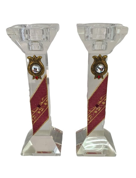 Crystal Candlesticks Set Rectangle - Red with Pomegranates