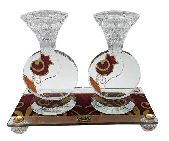 Crystal Circular Design Candlesticks Set 15 cm Red Pomegranate