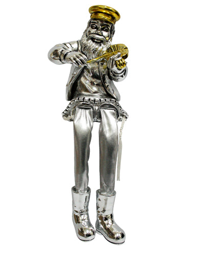 POLYRESIN HASSIDIC FIGURIN, CLOTH LEGS PLAYING VIOLIN 23 CM