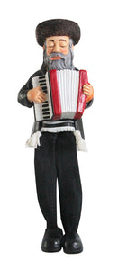 Polyresin Hassidic Figurine with Cloth Legs 15 cm - Accordion Player