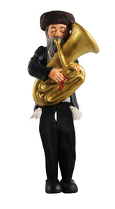 Polyresin Hassidic Figurine with Cloth Legs 16 cm- Tuba Player