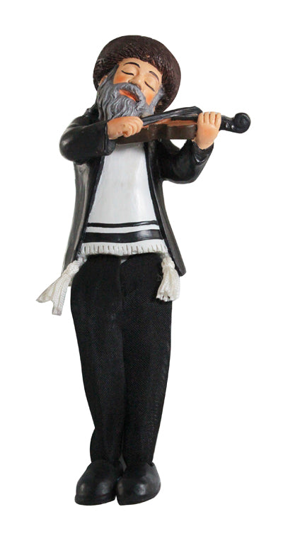 Black Polyresin Hassidic Figurine with Cloth Legs 17 cm- Violin Player
