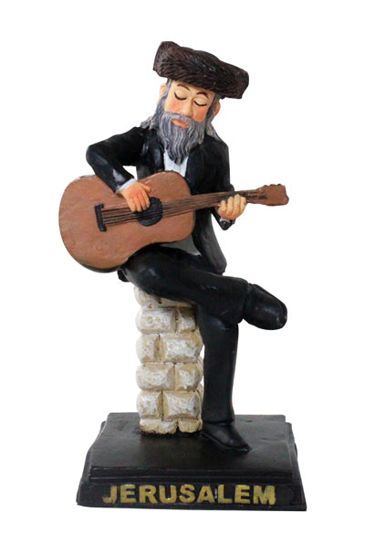 Polyresin Hassidic Figurine 11 cm - Guitar Player