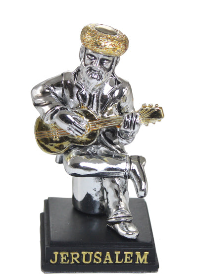 Polyresin Silvered Figurine 8cm- Guitar Player