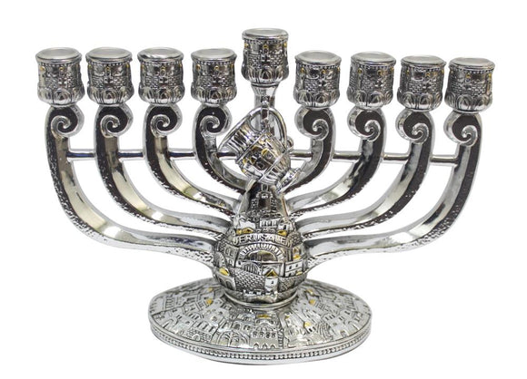 Silvered Polyresin Menorah 18X24 cm with Oil Jug