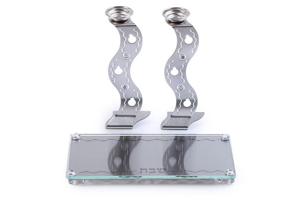 Wavy Candlesticks Set with Matching Tray - Silver