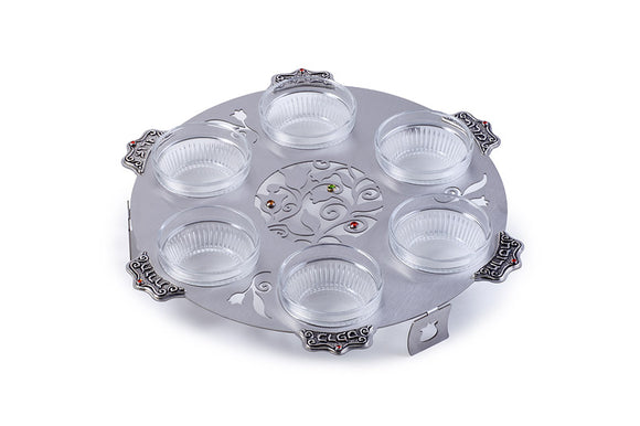 Pewter Cutout Seder Plate With Glass Bowls 28 cm - Tree Design