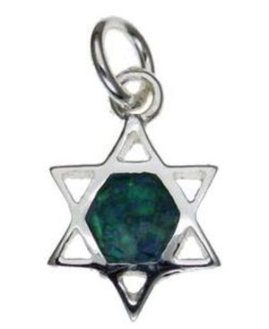 Star of David Opal Sterling Silver Pendant