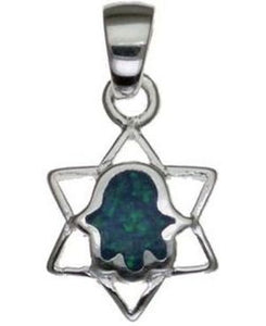Star of David with Opal Hamsa Sterling Silver Pendant