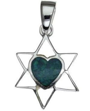 Star of David with Opal Hart Sterling Silver Pendant