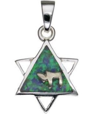 Opal Star of David with Chai Sterling Silver Pendant