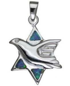 Star of David Dove with Opal Sterling Silver Pendant