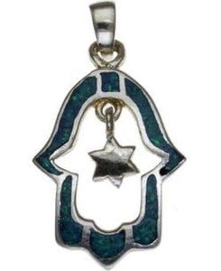 Opal Hamsa with Star of David Sterling Silver Pendant