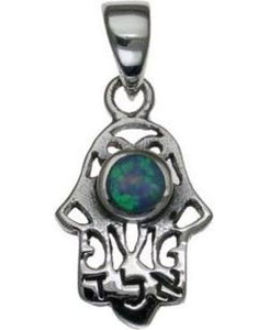 Hamsa with Opal Sterling Silver Pendant