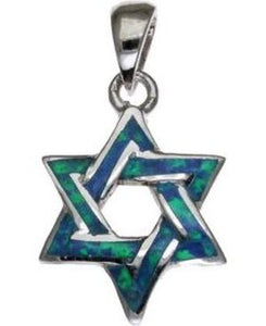 Opal Star of David Sterling Silver Pendant