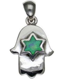 Hamsa with Opal Star of David Sterling Silver Pendant