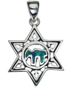 Star of David with Opal Chai Sterling Silver Pendant