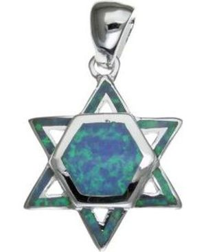 Star of David with Opal Sterling Silver Pendant