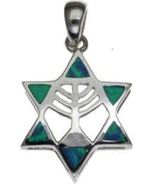 Opal Star of David with Menorha Sterling Silver Pendant