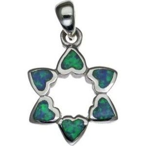 Opal Star of David Hart Shaped Sterling Silver Pendant