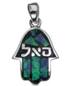 opal Hamsa with Kabbalah Blessing  Sterling Silver Pendant