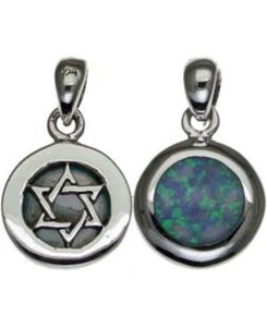 Two Sides Star of David with Opal Sterling Silver Pendant