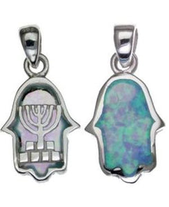Two Sides Menorah with Opal Sterling Silver Pendant