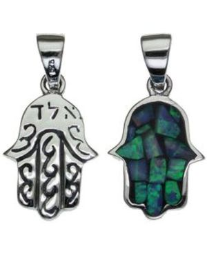 Two Sides Kabbalah Blessing and Opal Sterling Silver Pendant