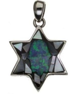 Mosaic Star of David Sterling Silver Pendant