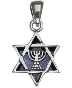 Star of David with Menorah Sterling Silver Pendant