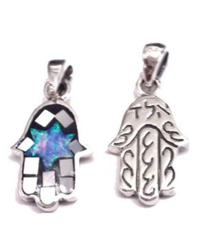 Two Sides Mosaic Hamsa and Kabbalah Blessing  Sterling Silver Pendant