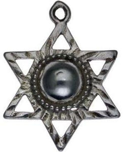 Star of David with Black Pearl Sterling Silver Pendant