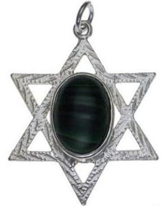 Star of David with Emerald Sterling Silver Pendant