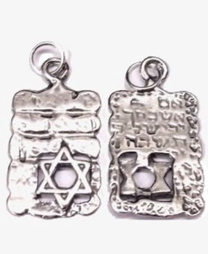 Star of David with Kotel Background Sterling Silver Pendant
