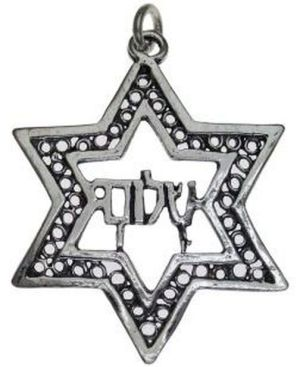 Star of David with Peace  Sterling Silver Pendant