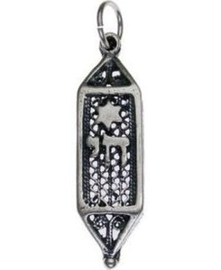 Mezuzah with Chai Sterling Silver Pendant