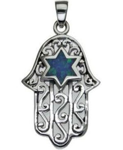 Hamsa with Star of David Sterling Silver Pendant