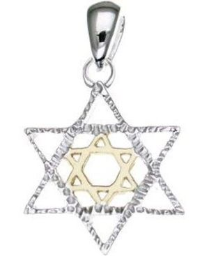 Star of David Sterling Silver Pendant with 14K Gold Plated Star