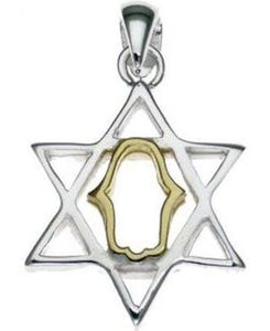 Star of David Sterling Silver Pendant with 14K Gold Plated Hamsa