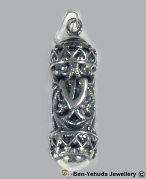 Mezuzah with G-ds Name Sterling Silver Pendant
