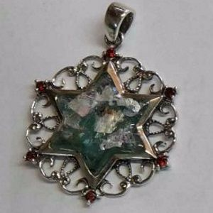 Roman Glass Star of David Sterling Silver Pendant
