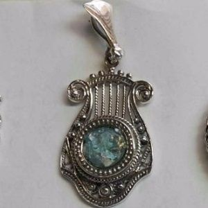 Harp with Roman Glass Sterling Silver Pendant