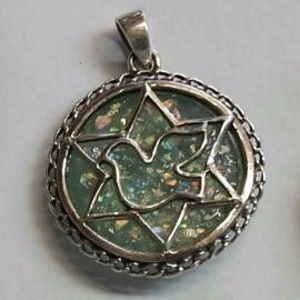 Roman Glass Star of David with Dove Sterling Silver Pendant