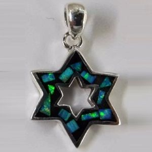 Star of David Opal Outline Sterling Silver Pendant