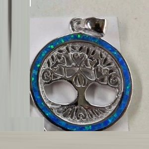 Tree of Life in Opal Circle Sterling Silver Pendant