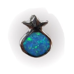 Pomegranate with Opal Center Sterling Silver Pendant