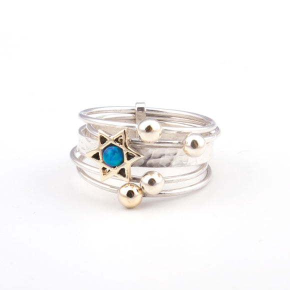 Gold Star of David with Opal Gold & Silver Ring